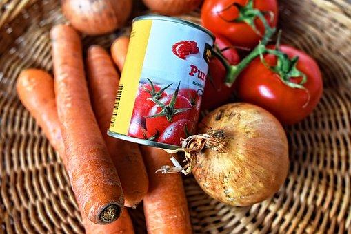 Warzyw, Marchew, Cebula, Pomidor, Puszka