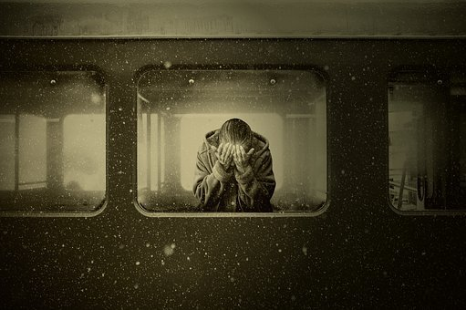Woman, Train, Zugabteil, Farewell