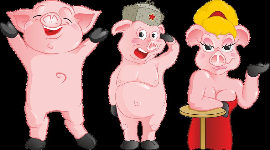 Свинья веселый рисунок, картинки прикольные смешные