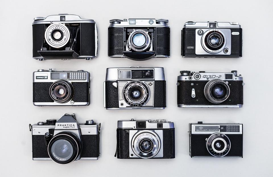 Antigua, Retro, Cámaras, Película, Vintage, Clásico