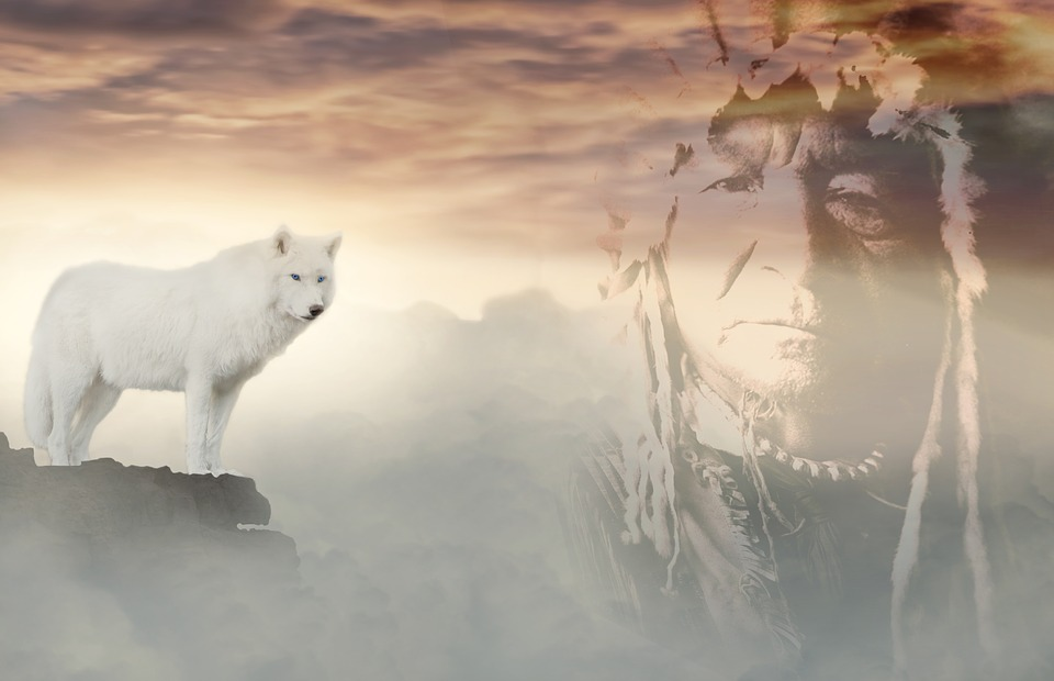 Wolf, Indians, Clouds, Fantasy, White, Mystical