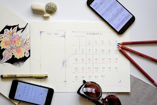 プランナー, 計画, 大騒ぎ, To Do リスト, 8月, カレンダー, 休暇