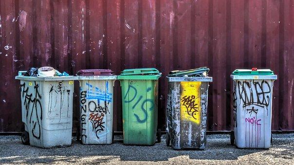 ゴミ箱, ジャンク, コンテナ, 落書き, プラスチック, 廃棄物, ゴミ箱