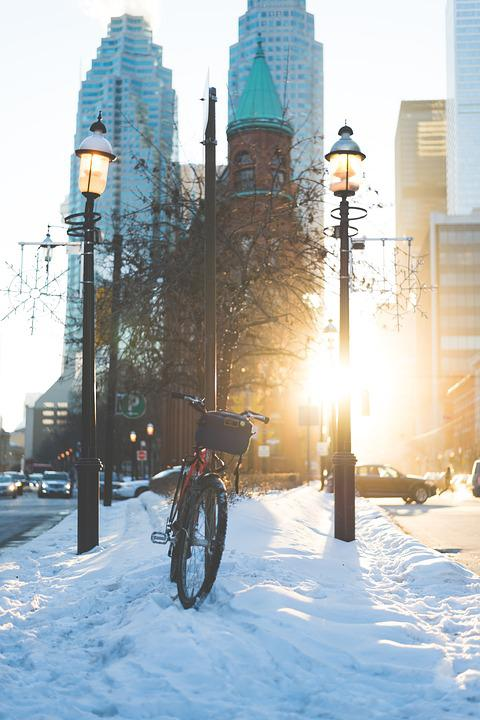 Toronto, Bike, Flatiron, Street, Snow, Winter, Sky