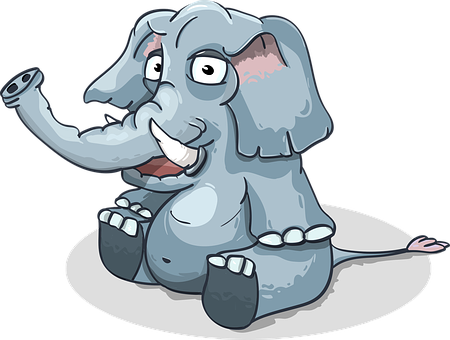 Elephant, Cartoon, Sitting