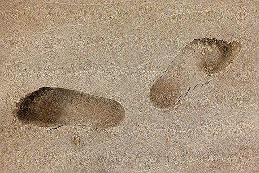 Fußabdruck, Fuß, Drucken, Sand, Strand