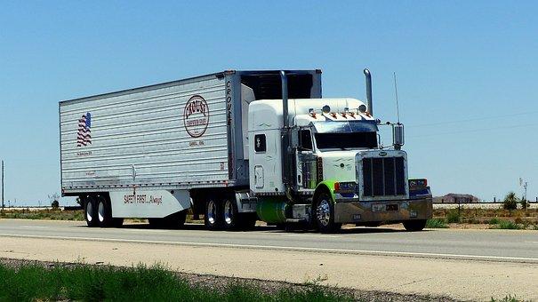 Camión, Transporte, Americano, Blanco