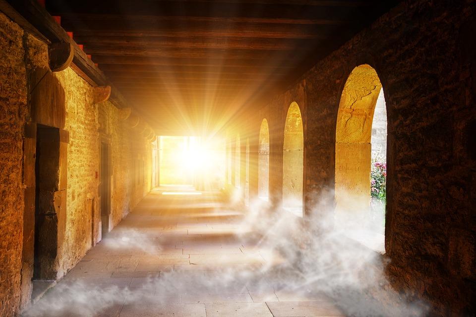 창, 열기, 태양, 빛, 깨달음, 떨어져, 명, 대상, 기대, 안개, 성, 수도원, 요새, 고정