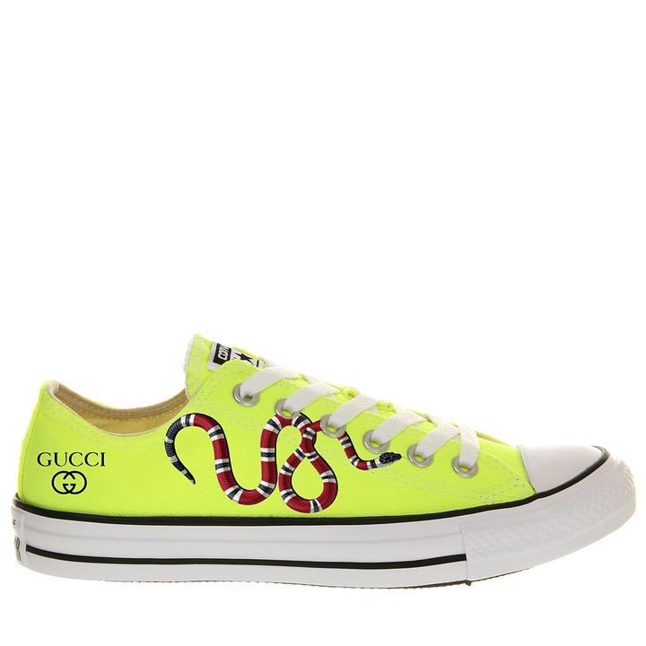 Gucci Converse Custom Snack Yellow Snake