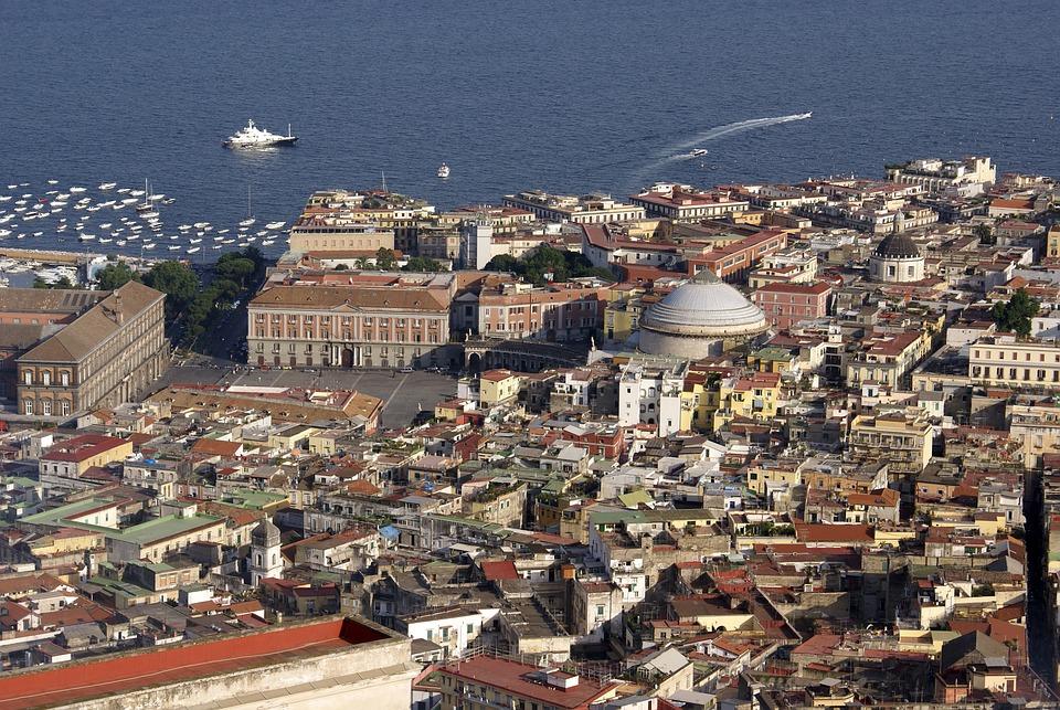 Naples, Italy, Piazza Plebiscito, Prefecture, Landscape