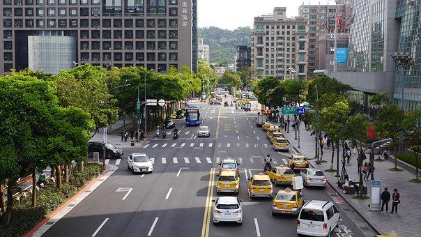 車, タクシー, 車両, トラフィック, 市, 都市, 交通, 通り, 古典的な