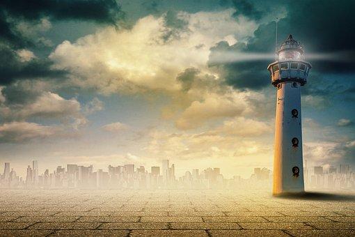 Leuchtturm, Surreal, Kunst, Himmel