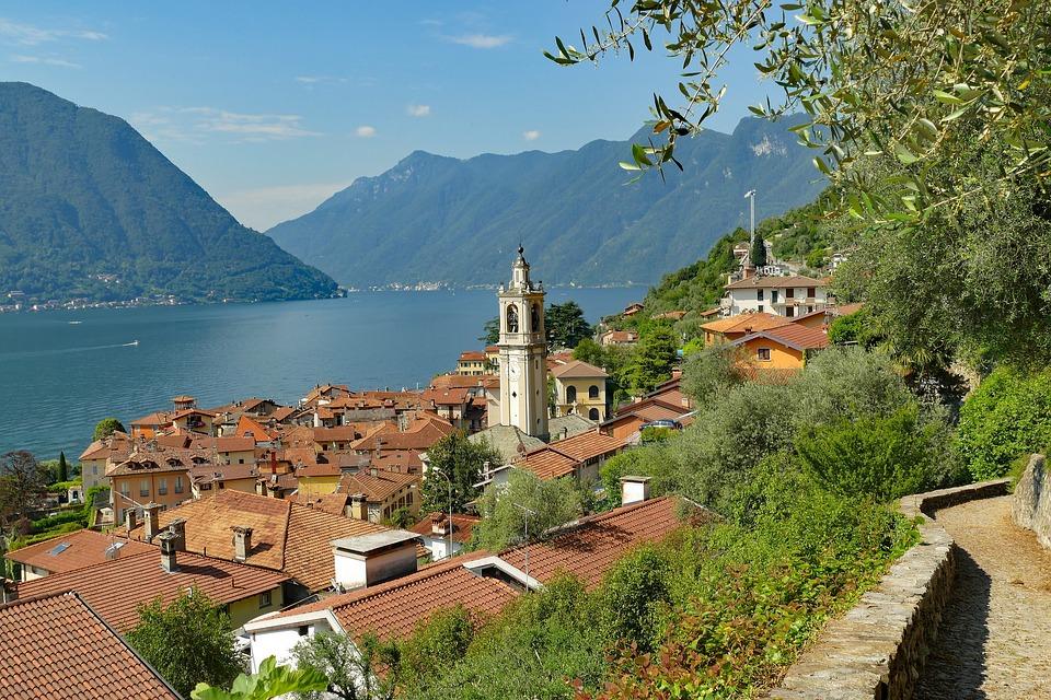 Italya, Como Gölü, Sala Comacina, Göl, Tatil, Şehir