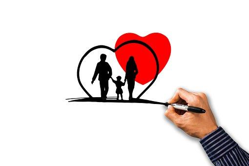 家族, 健康, 心, 人間, グループ, 個人, シルエット, ヘルスケア