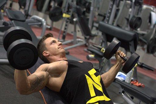 フィットネス, の強化, 筋肉, ジム, ダンベル, 圧力, エクササイズ, 男