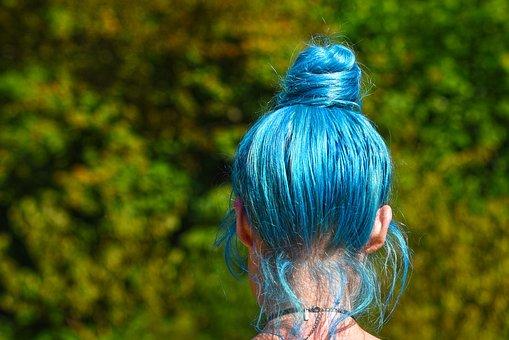 Blue Hair, Hair, Head, Woman, Hairstyle