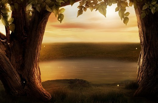 Background Image, Fantasy, Trees, Lake