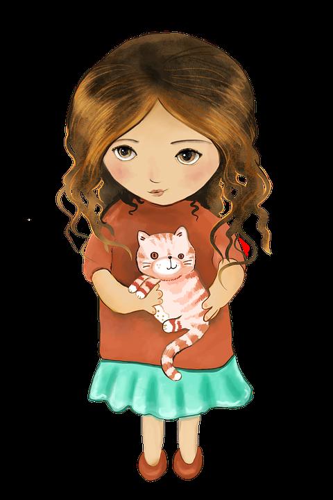 Jeune Fille, Jolie Fille, Cat, Petite Fille, Mignon