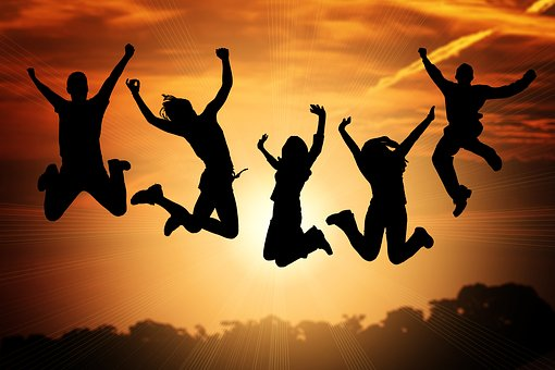 Human, Jump, Luck, Success, Cheers