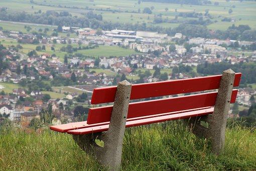 Bench, Far View, Grass, High, Panorama