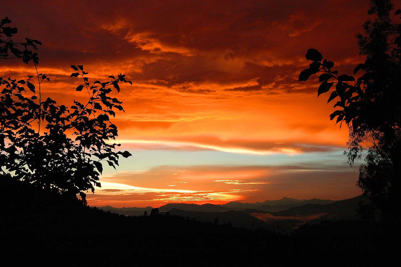 Sunset Pauri Garhwal Red - Free photo on Pixabay