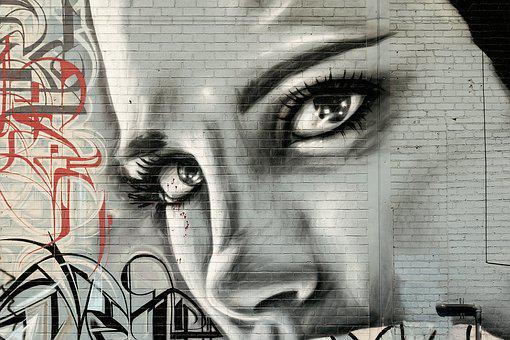 Face Woman, Graffiti, Grunge, Street Art