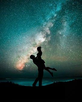 Couples, Night, Stars, Milkyway, Shadow