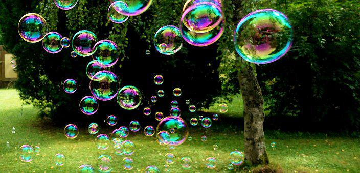 Soap Bubbles, Colorful, Flying