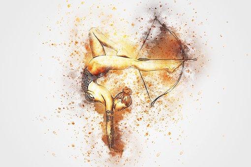 Girl, Bow, Arrow, Art, Abstract