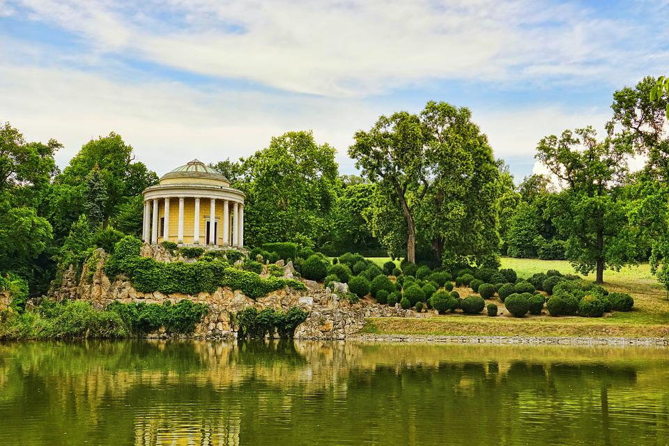 Architecture, Nature, Leopoldinen Temple, Pond