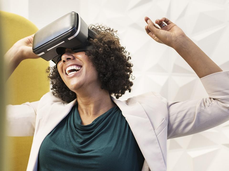 Vr, Negro, Mujer De Negocios, Dispositivo, Digitales