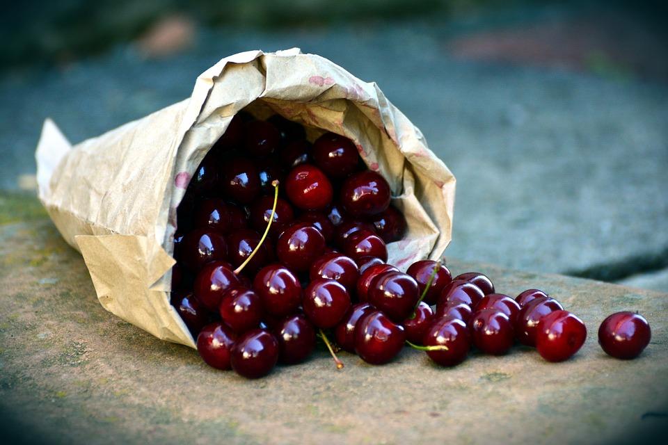 Ciliegie, Frutta, Visciole, Borsa, Vendemmia, Rosso
