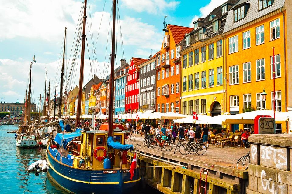 City, Copenhagen, Denmark, Padlock, River, Canal, Boat