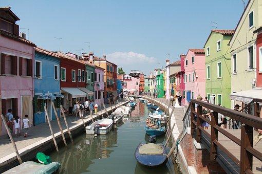 Burano, Benátky, Domy, Barvitý, Fasáda
