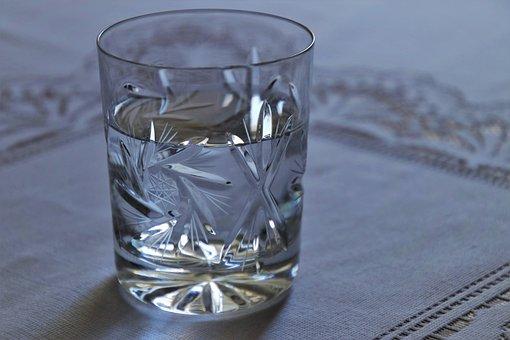 カップ, 欲望, クリスタル, デトックス, 水, 寒い, グレー, 透明です