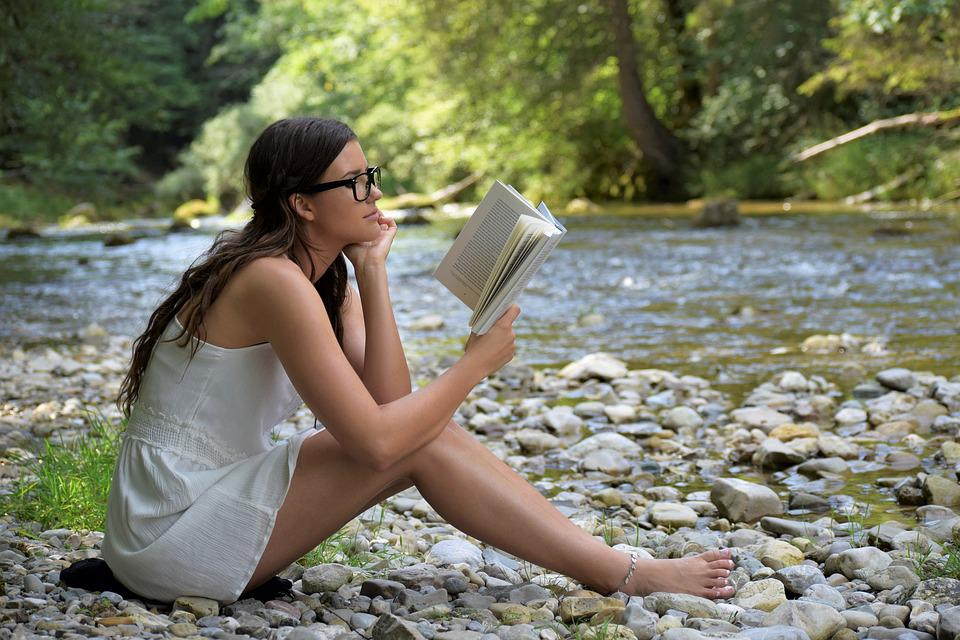 Girl, Woman, Read, Book, Sit, Nature, River, Learn
