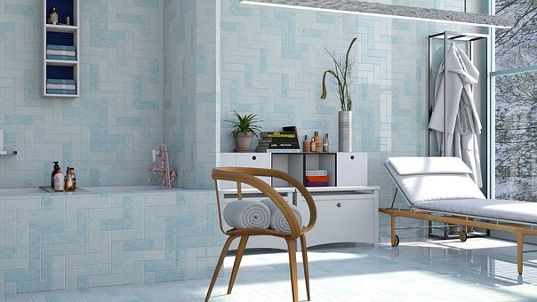 Bathroom, Blue, Bath, Tile, Wall, Design