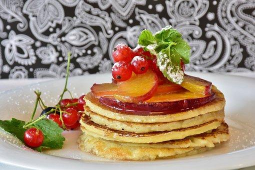Pancake, Honey, Fruits, Apricots