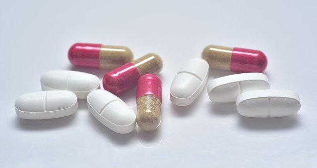 錠, 薬, カプセル化します, 抗生物質, フォーク, 食べる, 錠食, 薬局
