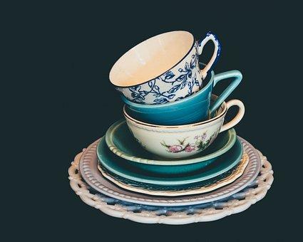 料理, ビンテージ, テーブル, プレート, 花, 装飾, 皿, 食卓用食器類