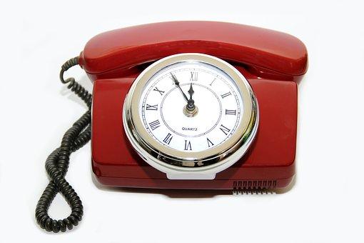 Phone, Old, Red, Clock, Nostalgia