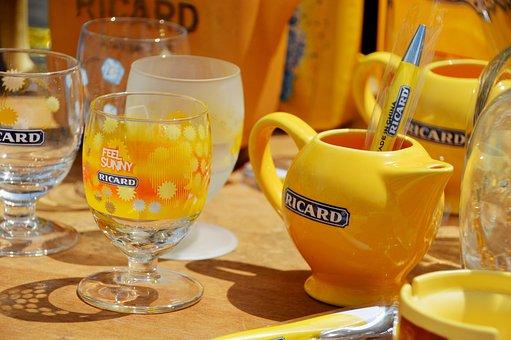 Table, Glass, Ricard, Drink, Mark, Anise