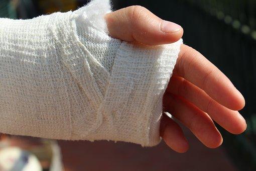 整形外科, 包帯, 手, チョーク, 病院, 壊れた, 突, 傷害, 痛み