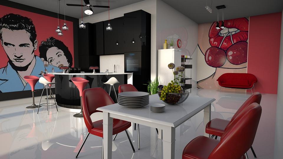 Pop   Art Kitchen Red Furniture Poster