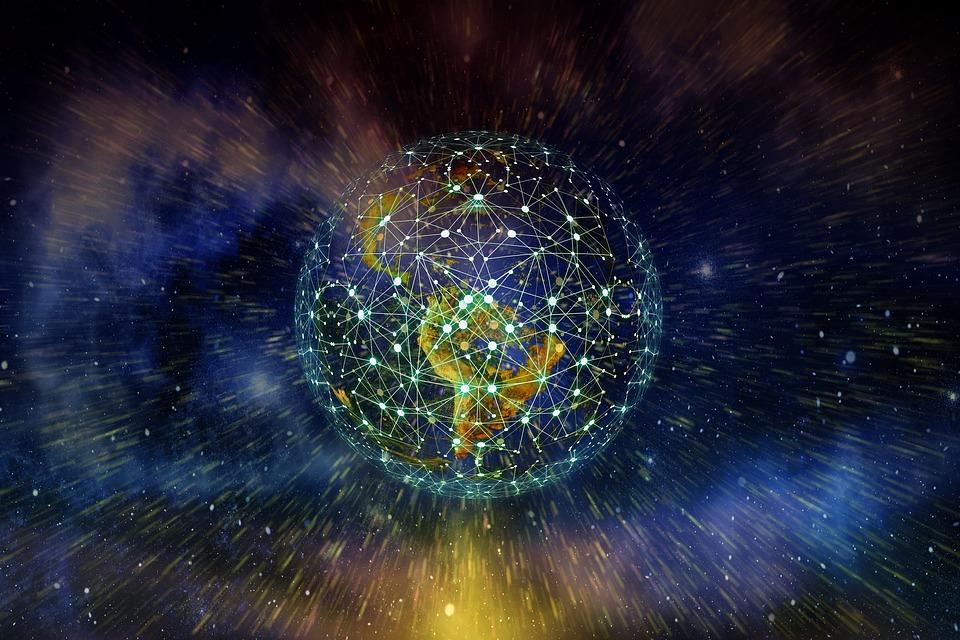Tierra, Red, Blockchain, Globo, La Digitalización. Uso de tecnología