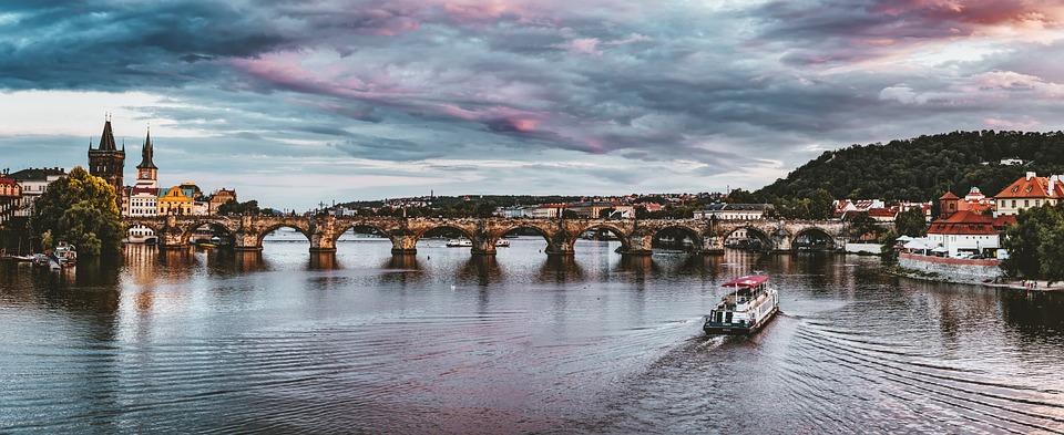 Praga, Czechy, Zachód Słońca, Miasta, Most Karola
