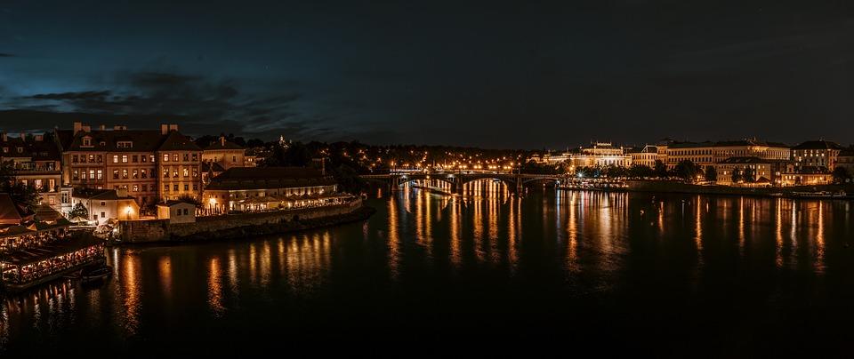 Praga, Czechy, Noc, Miasta, Most Karola, Mołdawia