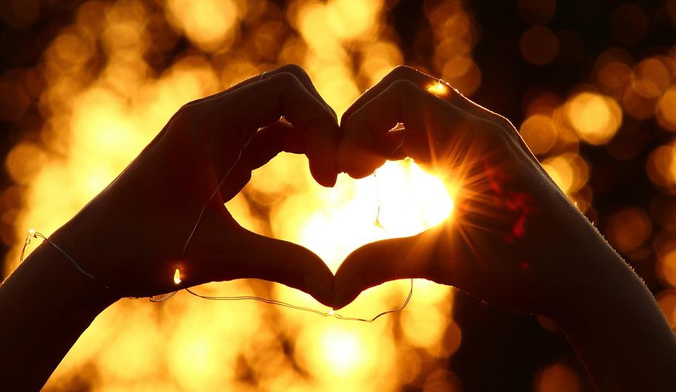 Cuore, Le Mani, Amore, Romantica, Silhouette, Tramonto