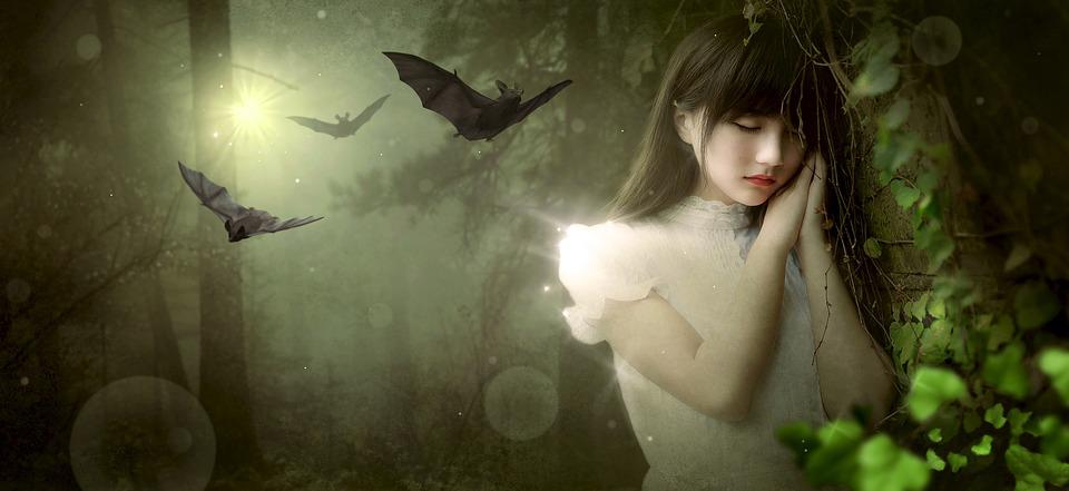 Fantasy, Girl, Forest, Bat, Mood, Mysterious, Nature