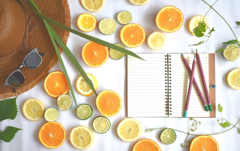 夏, 柑橘類, 果物, デザイン, ビタミン, 食品, ノートブック, ダイエット, フラットレイ